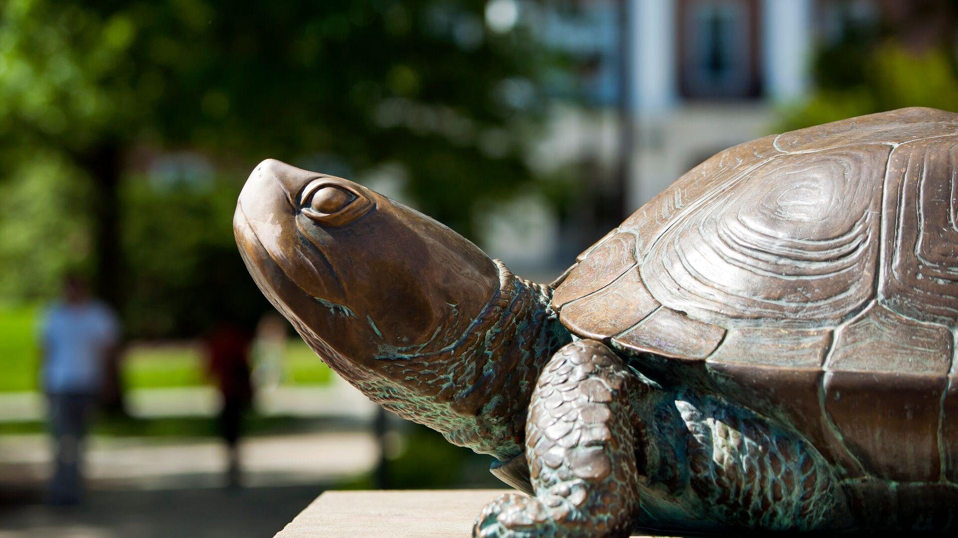 View of Testudo bronze statue in front of McKeldin Library, with students walking in the background.